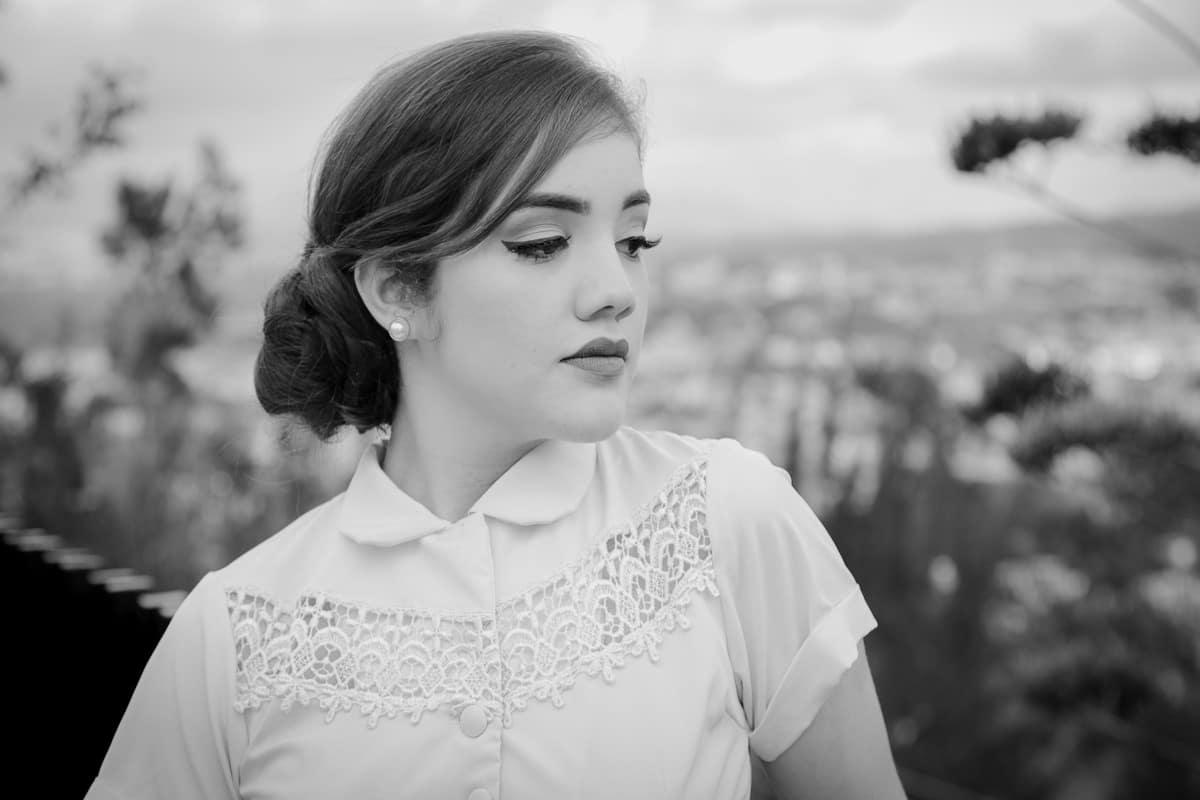 Retrato blanco y negro en sesión de fotos en Esquipulas.